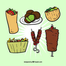 sketches typical arab food set vector free download