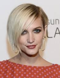 dark roots blonde asymmetrical bob haircut with side part and long
