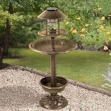 Solar Lights Garden Ornamental Bird Hotel Feeder U0026 Bath With Solar Light Garden Birds
