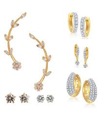 diamond earrings with price parijaat white american diamond earrings combo of 6 buy parijaat