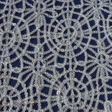 silver lace table overlay sequin beads studded lace table runner 14 x 108 silver