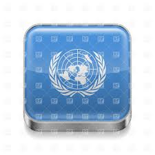 Flags Of Nations Flag Of United Nations On Metal Square Icon Royalty Free Vector