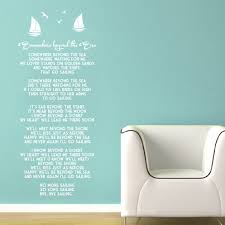 wall vinyl decal somewhere beyond the sea song lyrics by bobby zoom