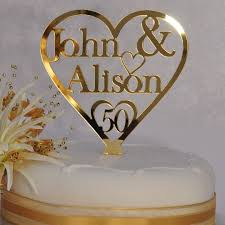 50th cake topper 50th golden wedding anniversary personalised names heart cake