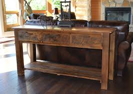 sofa table reclaimed teton 3 drawer sofa table rustic furniture mall by