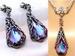 light purple necklace images Purple crystal bridesmaids jewelry set romantic victorian jpg