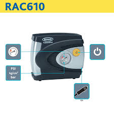 ring rac610 analogue tyre inflator 12v air compressor tyre pump