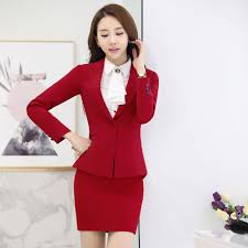 styles of work suites novelty red professional autumn winter formal uniform styles work