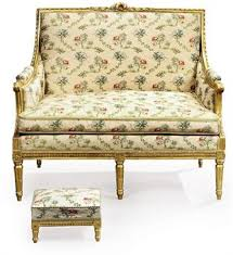 canape louis xvi a louis xvi giltwood canape and a louis xv style giltwood stool the