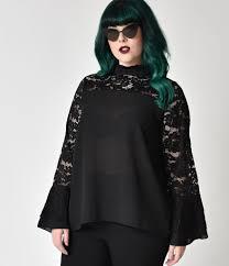 blouse plus size style plus size black lace bell sleeve chiffon blouse