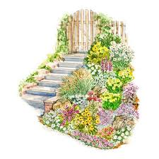 easy slope garden plan sloped garden planting and diagram