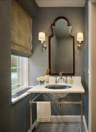 modern powder room dark trim painted in benjamin moore deep