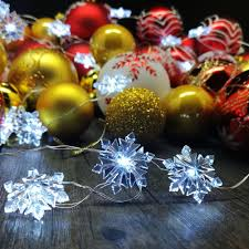 Outdoor Christmas Ornament Balls by Snowflake String Lights Silver Plated Copper Wire 10 Ft 40cold
