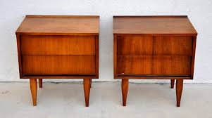 furniture mid century nightstand with double brown wooden cabinet