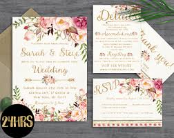wedding invitations etsy floral wedding invitation template wedding invitation