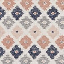 Roman Upholstery Navy Blue Coral Geometric Upholstery Fabric Blue Orange Ikat