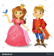 illustration beautiful princess prince wight stock vector