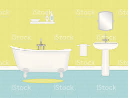 Yellow Bathtub Cartoon Blue And Yellow Bathroom With Tub And Sink Stock Vector