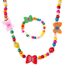 beaded butterfly bracelet images Bead jewelry set for girls multicolor wooden beaded butterfly