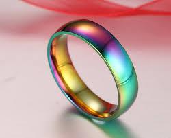 titanium colored rings images Men women rainbow colorful ring 6mm titanium steel wedding band jpg