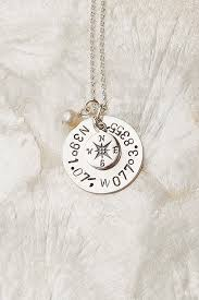 Anniversary Gifts Jewelry Coordinate Necklace Compass Necklace Hand Stamped Coordinate