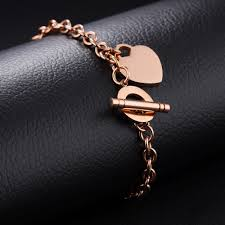 rose gold heart charm bracelet images Free custom engraving stainless steel rose gold heart charm jpg