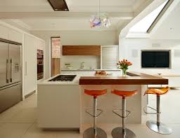 Bespoke Kitchen Design London White Lacquer Urbo Bespoke Kitchen Island With Walnut Breakfast