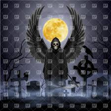 graveyard clipart angel of death with scythe on the night cemetery vector image