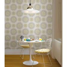 peel and stick wallpaper reviews nuwallpaper 30 75 sq ft grey and yellow suzani peel and stick