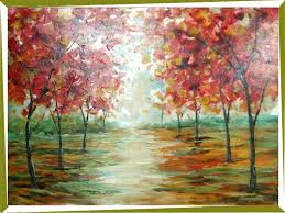 china hand painted impressionism oil paintings cartoon road flower