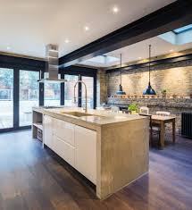 exposed brick kitchen wall kitchen contemporary with high gloss