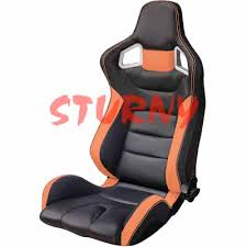 orange siege siège bacquet type rs6 en similicuir noir orange sturny tuning com