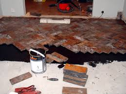 the pit laying the parquet floor