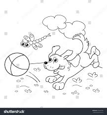coloring page outline cartoon dog ball stock vector 443227480