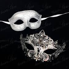 s matching masquerade masks silver white themed
