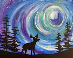 popup paint party u2013 northern lights moose