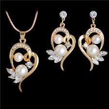crystal pearl necklace set images Fashion simulated pearl jewelry sets for wedding cute flower stud jpg