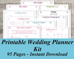 printable wedding planner printable wedding planner instant ultimate wedding