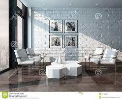 minimalist living room interior with brick wall stock illustration