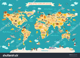 Continent Of Asia Map by Map Animal Kid Continent World Animated Stock Vector 599815097