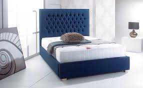Blue Bed Frame Chesterfield Fabric Upholstered Bed Frame Chenille Leather Linen