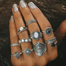 vintage crystal rings images 10pcs lot fashion leaf stone midi ring sets new vintage crystal JPG