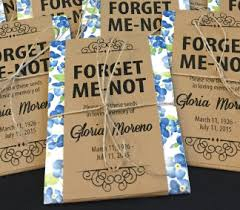 custom seed packets personalized memorial forget me not seed packets with blue