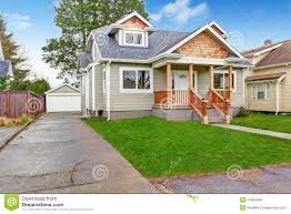 house exterior front porch and garage view stock photo image