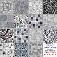 mosaic tile designs grey mosaic tile stickers transfers kitchen bathroom 6 inch