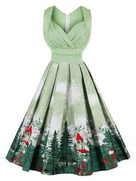 dress pictures 2018 vintage forest print ruched christmas pin up dress pistachio