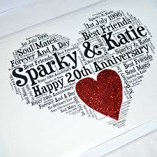 20th wedding anniversary personalised 20th wedding anniversary sparkle card by sew