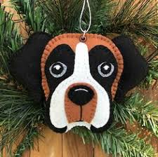 felt boxer christmas tree ornament created from a photograph