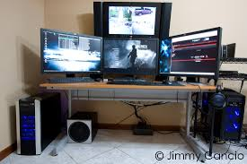 Ultimate Computer Workstation by Home Surveillance System And Quadruple Monitor Setup Security