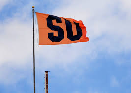 University Flags Orange Pride From Up High Syracuse University Flag Flies From